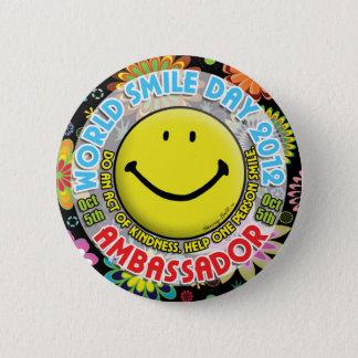 AMBASSADÖREN 2012 för världsleendedagen knäppas Standard Knapp Rund 5.7 Cm