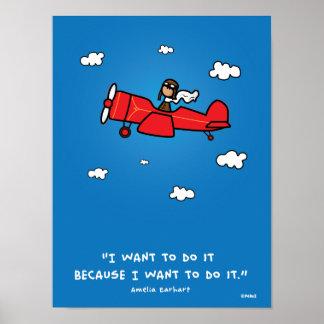 Amelia Earhart affisch 18x24 (och samma förhålland