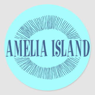 Amelia Island i blått med soldesign Runt Klistermärke