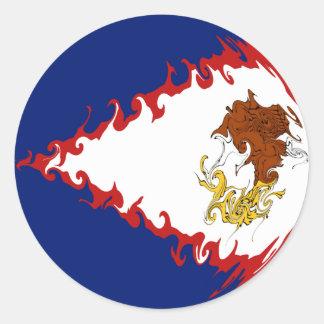 American Samoa Gnarly flagga Runda Klistermärken