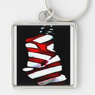 Amerika 4th av patriotiska designer för Juli Fyrkantig Silverfärgad Nyckelring