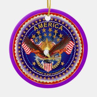 Amerika andeberlock behar ser noterar rund julgransprydnad i keramik