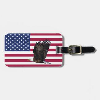 Amerika flagga med märkren för örnpersonligbagage bagagebricka