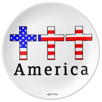 Amerika kristendomen! PLÄTERA Porslinstallrik