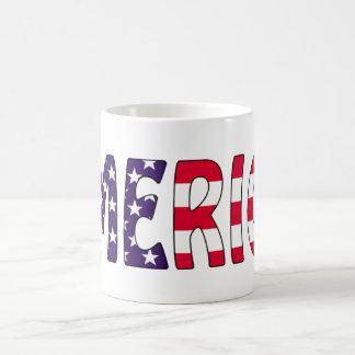 Amerika stars och stripes vit mugg