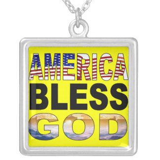 Amerika välsignar gudhalsbandet halsband med fyrkantigt hängsmycke
