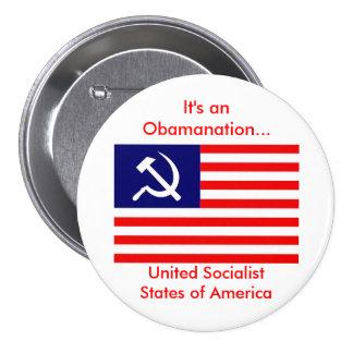 amerikan-flagga-USSA är det en Obamanation…, Uni… Mellanstor Knapp Rund 7.6 Cm