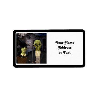 Amerikan gotiska Halloween Adressetikett