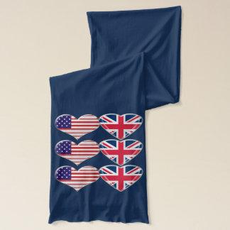 Amerikan och engelsk hjärtaflaggaScarf Sjal