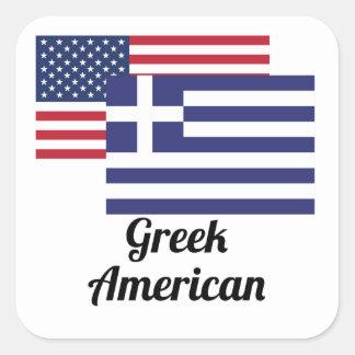 Amerikan och grekisk flagga fyrkantigt klistermärke