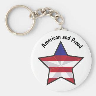 Amerikan och stolt rund nyckelring