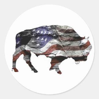 AmerikanBison Runt Klistermärke