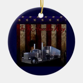Amerikanen långt rund julgransprydnad i keramik
