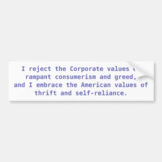 Amerikanen vs. företags värderar bildekal