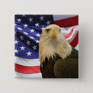 Amerikanörn och flagga standard kanpp fyrkantig 5.1 cm