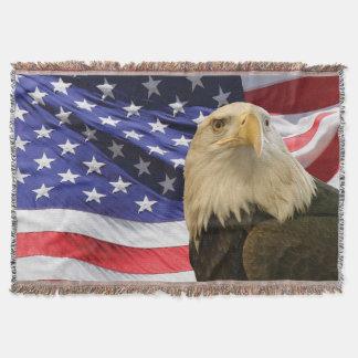 Amerikanörn och flaggakastfilt mysfilt