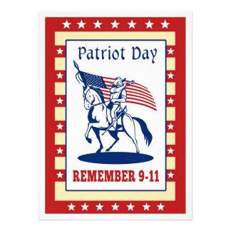 Amerikanpatriotdagen minns kortet för hälsning 911 unika inbjudningar