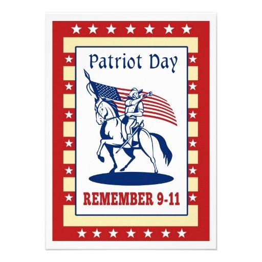 Amerikanpatriotdagen minns kortet för hälsning 911 anpassade inbjudan