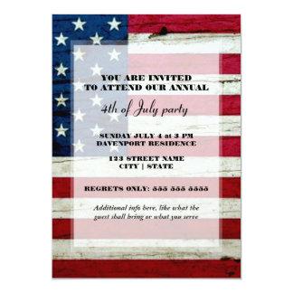 Amerikanska flaggan 4th av den Juli partyinbjudan 12,7 X 17,8 Cm Inbjudningskort