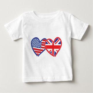 Amerikanska flaggan/fackliga jackflaggahjärtor tröjor