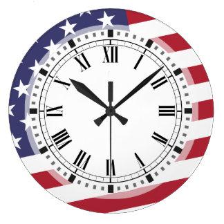Amerikanska flaggan - fira USA - den Juli 4 Stor Klocka