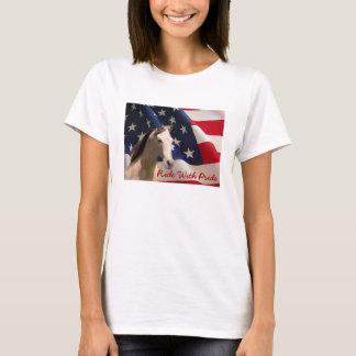Amerikanska flaggan för hästdamT-tröja T-shirt