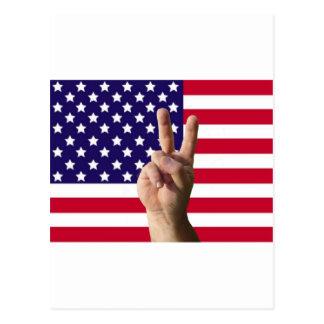 Amerikanska flaggan & fredstecken vykort