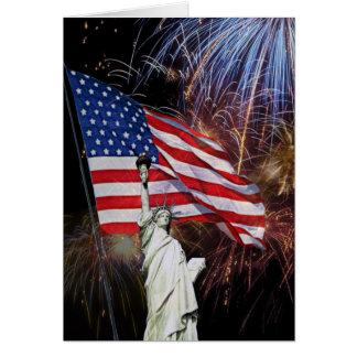 Amerikanska flaggan, fyrverkerier och hälsningskort