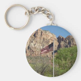 Amerikanska flaggan i Zion nationalpark II Rund Nyckelring