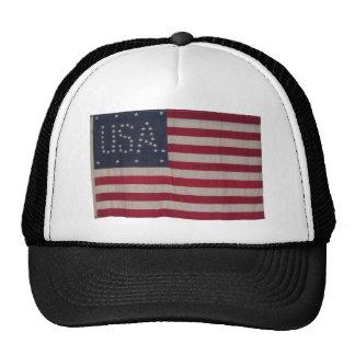Amerikanska flaggan med 48 stjärnor som stavar USA Trucker Kepsar