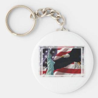 Amerikanska flaggan med amerikanörn- & damfrihet rund nyckelring