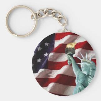 Amerikanska flaggan med damfrihet rund nyckelring
