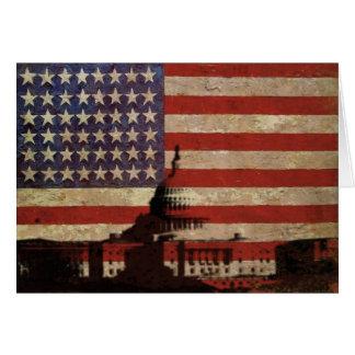 Amerikanska flaggan med silhouetten av Capitol Hälsningskort