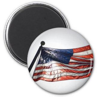 Amerikanska flaggan med solen i bakgrunden magnet
