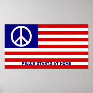 Amerikanska flaggan och fredstecken poster