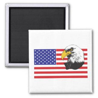 Amerikanska flaggan och örn magnet