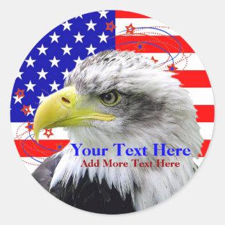 Amerikanska flaggan- och örnklistermärkear runt klistermärke