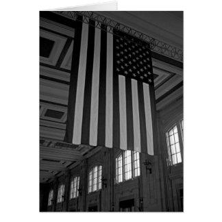 Amerikanska flaggan på den fackliga stationen hälsningskort