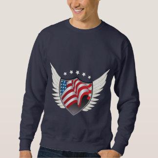 Amerikanska flaggan skyddar pulloveren långärmad tröja
