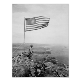 Amerikanska flaggan som flyger över monteringen poster
