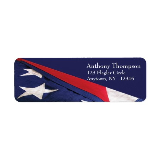Amerikanska flagganetikett returadress etikett