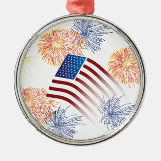Amerikanska flagganfyrverkerier julgransprydnad metall