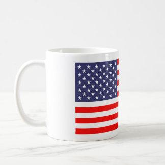 Amerikanska flaggankaffe koppar vit mugg