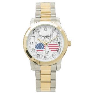 Amerikanska flaggankattklocka armbandsur