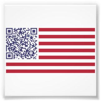 Amerikanska flaggannationalsången QR kodifierar Konstfoto