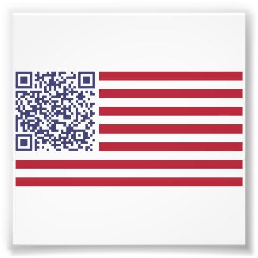Amerikanska flaggannationalsången QR kodifierar Fotografiska Tryck