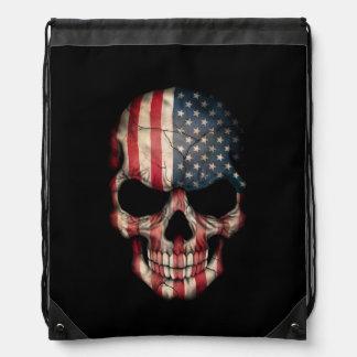 Amerikanska flagganskalle på svart gympapåse