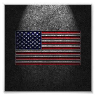 Amerikanska flagganstenstruktur fototryck