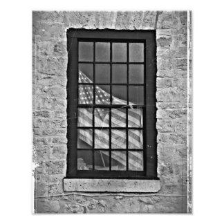 Amerikanska flagganvintagetryck i svartvitt fototryck