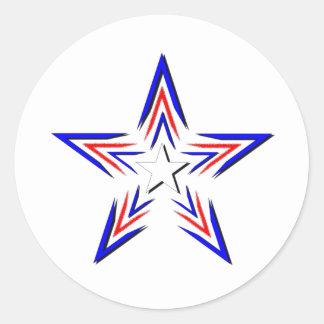 amerikanstjärna runt klistermärke